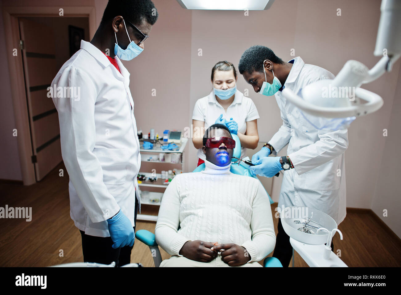 Multiracial dentist doctors team  African american man