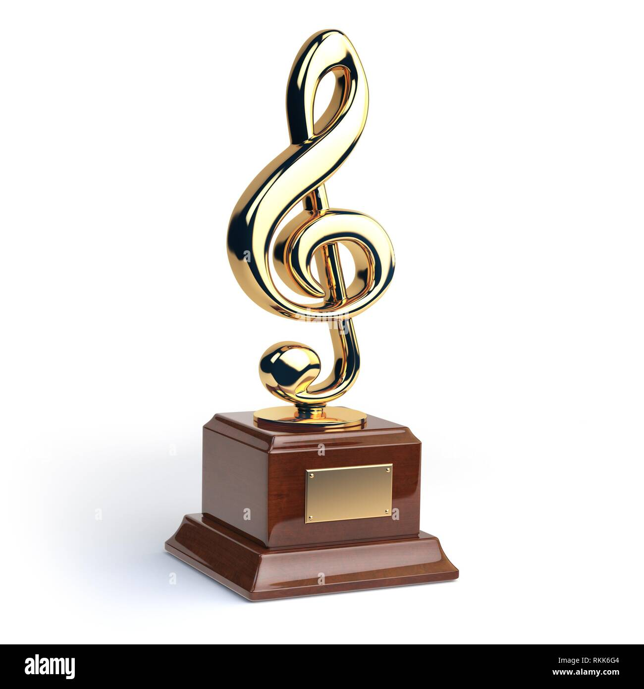 Gold Treble Clef S Trophy Isolated On White Music Award Concept 3d Illustration Stock Photo Alamy