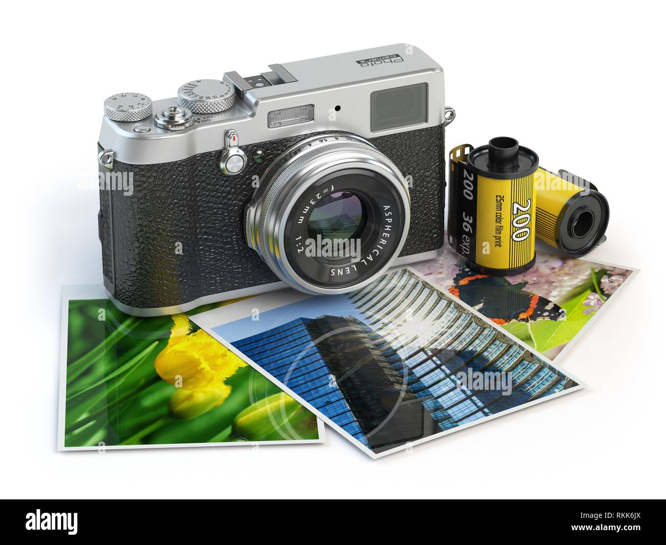 Photo camera and images and film canisters isolated on white. 3d illustration. - Stock Image