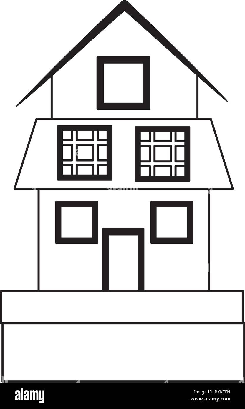 house with solar panels symbol black and white - Stock Vector