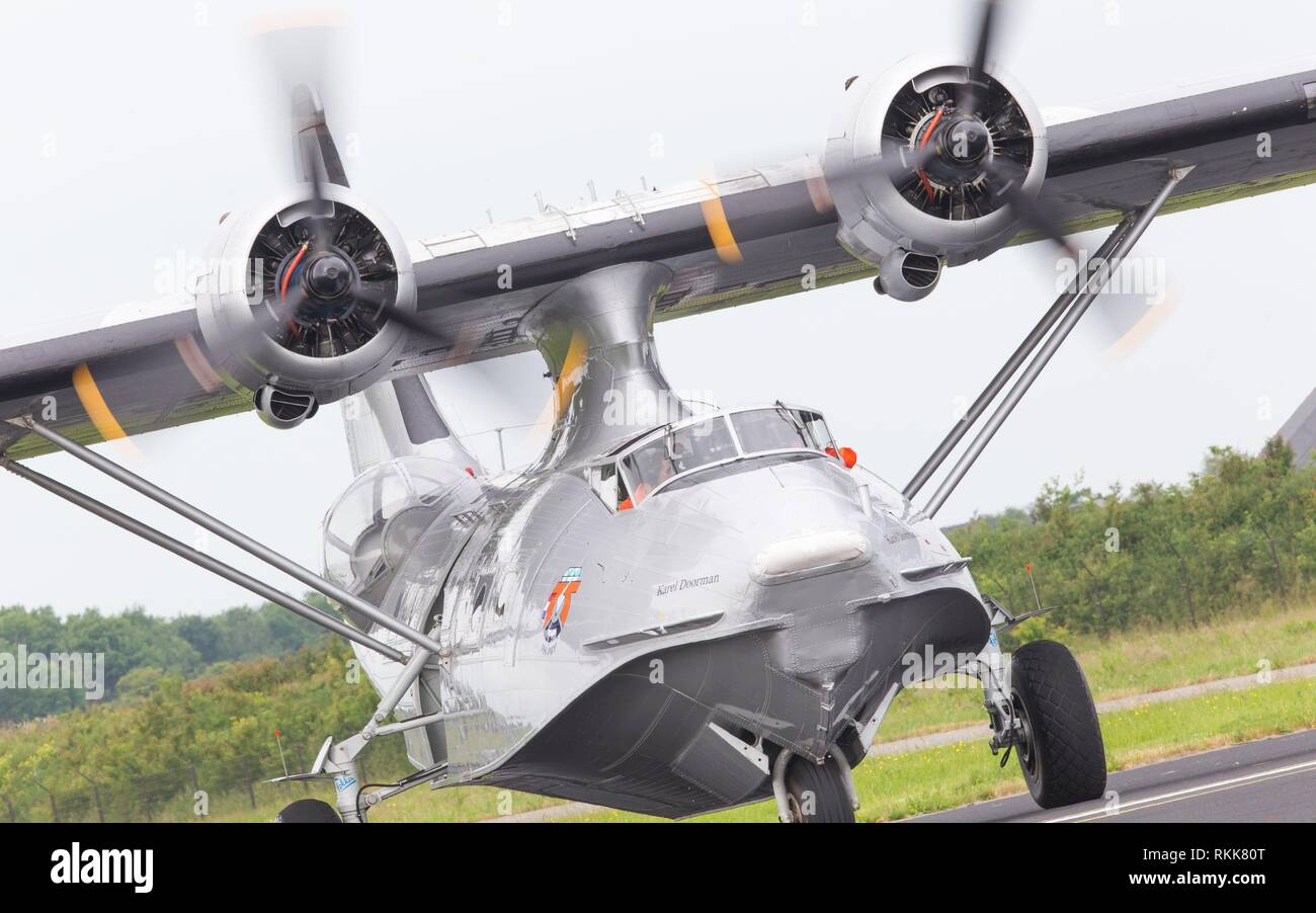 LEEUWARDEN, NETHERLANDS - JUNE 11: Consolidated PBY Catalina in Dutch Navy colors flying at the Royal Netherlands Air Force Days June 11, 2016 in - Stock Image