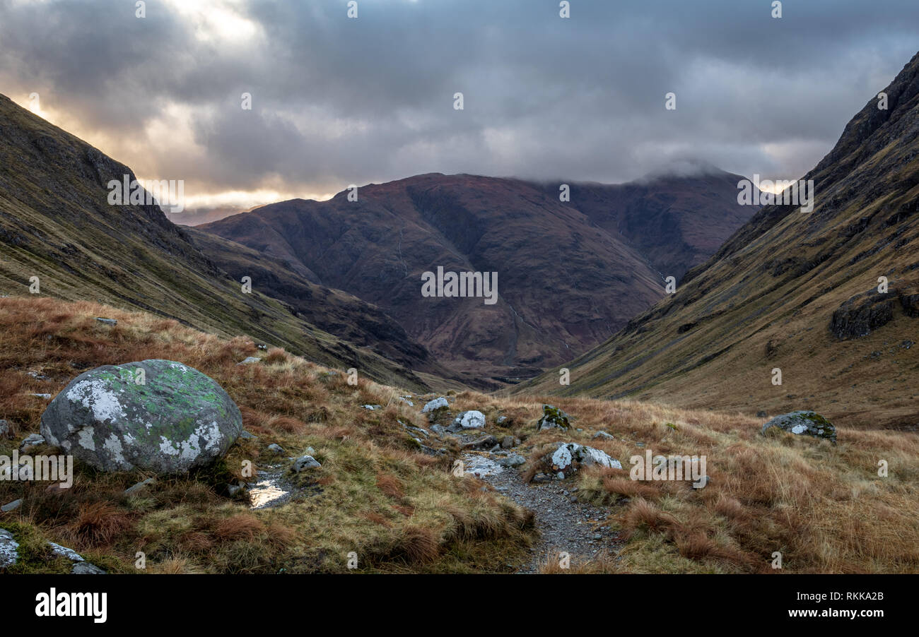 Inverness. Winter nature in up North in Scotland. Landscapes with hils and road going forward to the horizon. - Stock Image
