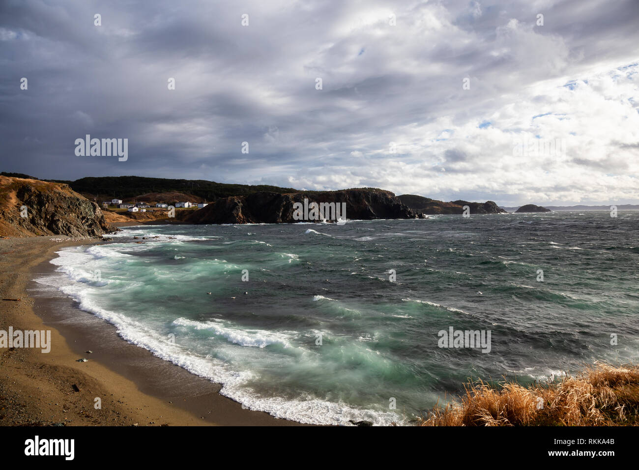 Seascape view of a raging ocean on the Atlantic Coast during a stormy and windy day. Taken in Crow Head, North Twillingate Island, Newfoundland and La Stock Photo