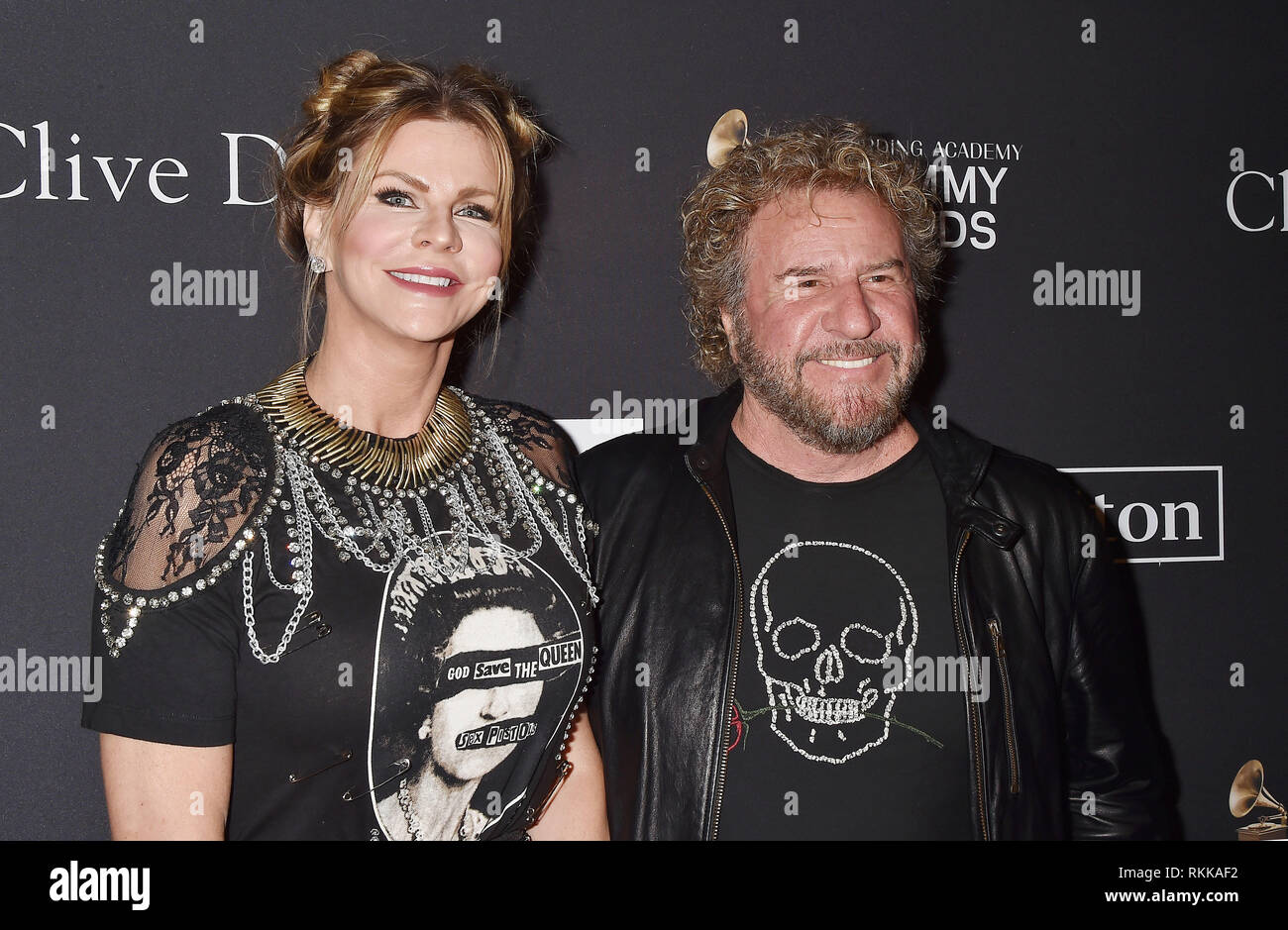 BEVERLY HILLS, CA - FEBRUARY 09: Kari Karte (L) and Sammy Hagar attend The Recording Academy And Clive Davis' 2019 Pre-GRAMMY Gala at The Beverly Hilt - Stock Image