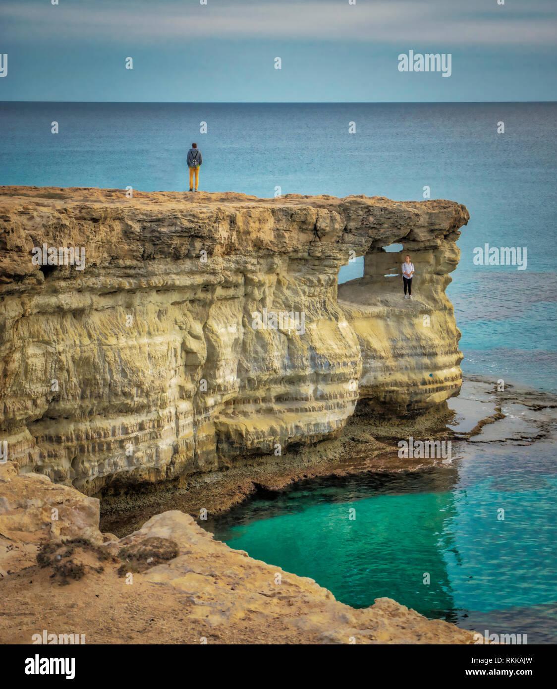 Hide and seek. Cyprus - Ayia napa sea caves Stock Photo