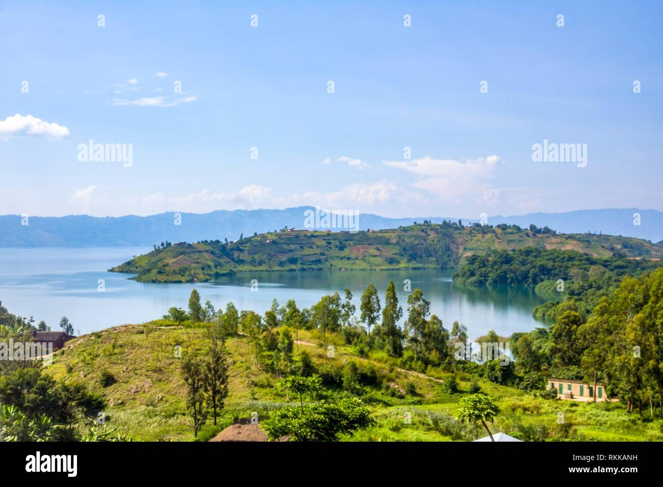 Lake Kivu, one of the largest of the African Great Lakes, In Rwanda. - Stock Image
