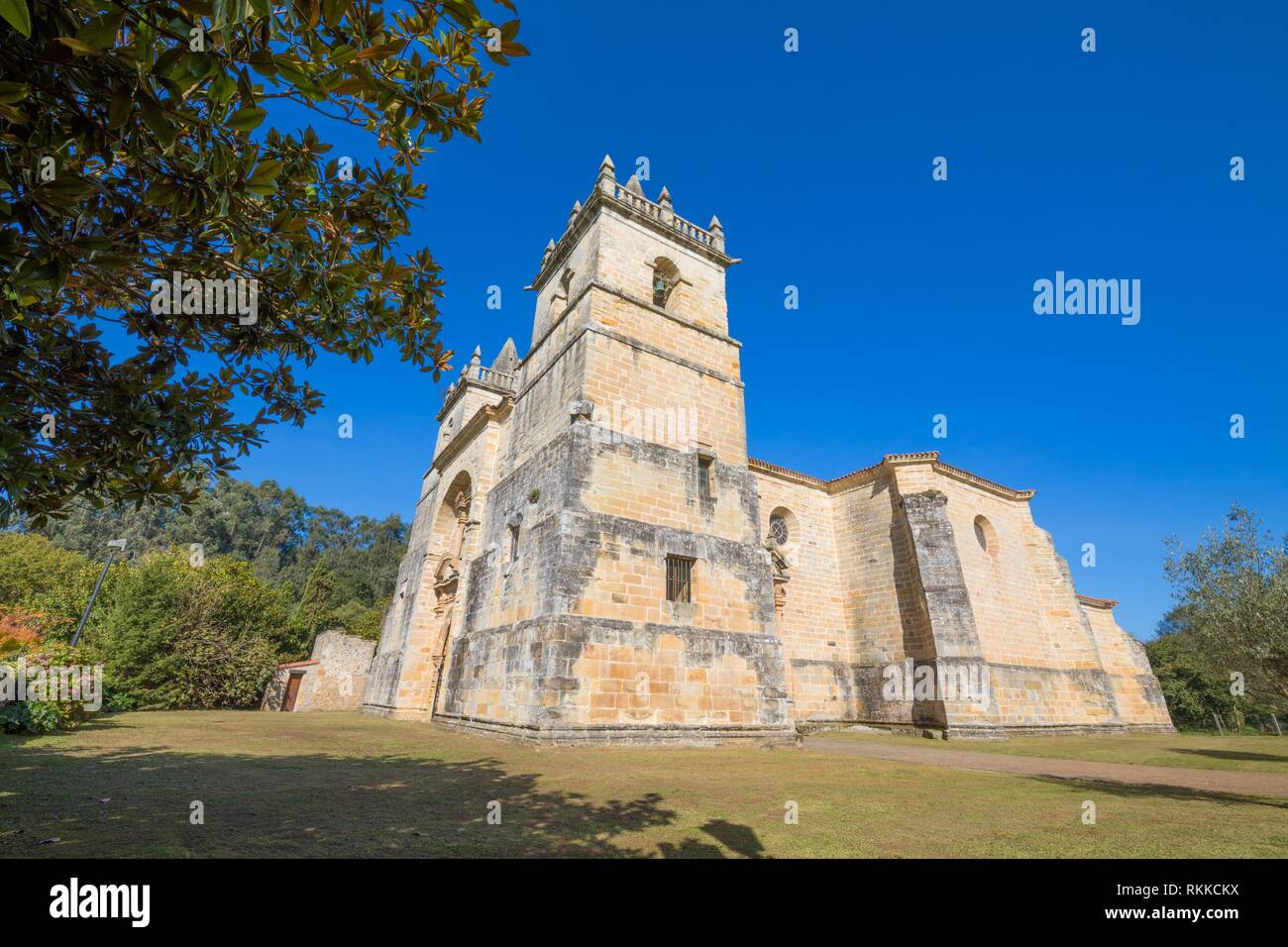 corner of church of Saint Martin de Tours, colonial baroque style monument from 1768, in Ciguenza, Alfoz Lloredo, Cantabria, Spain, Europe. - Stock Image