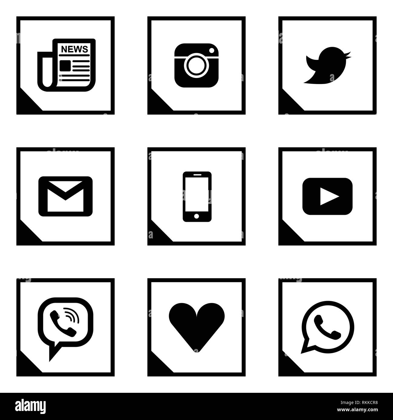 cf860d0631 Vector social media icons. Black line square icon Stock Vector Art ...