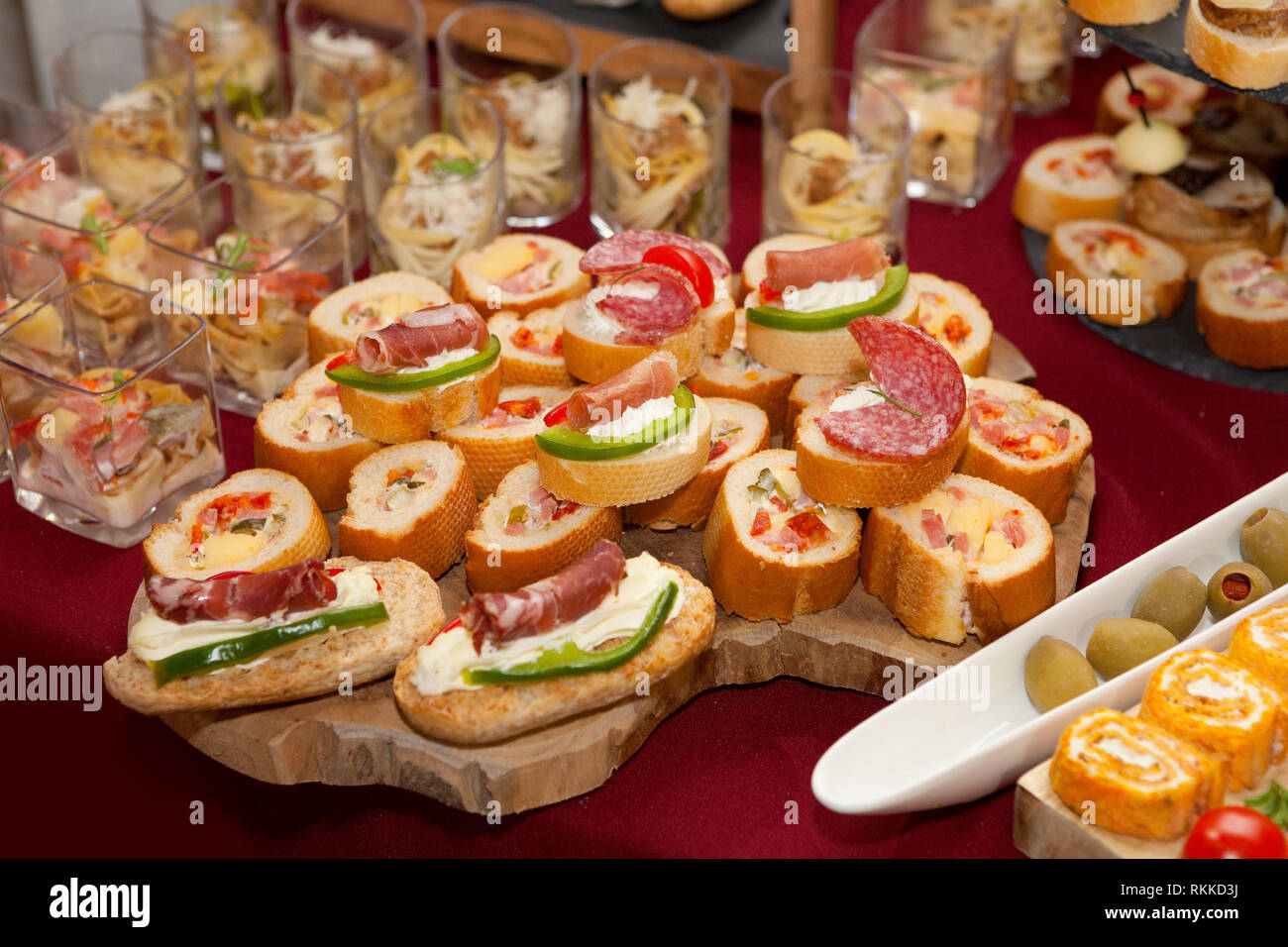 Catering food, colorful canapes beautifully decorated - Stock Image