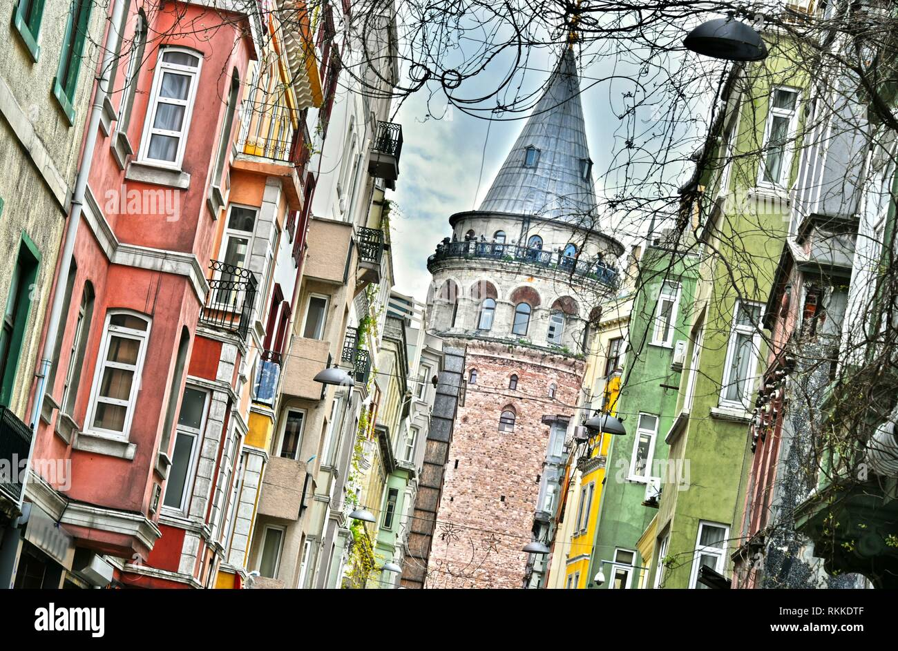 Galata Tower called also the Tower of Christ is a medieval stone tower in the Galata quarter of Istanbul, Turkey,. - Stock Image