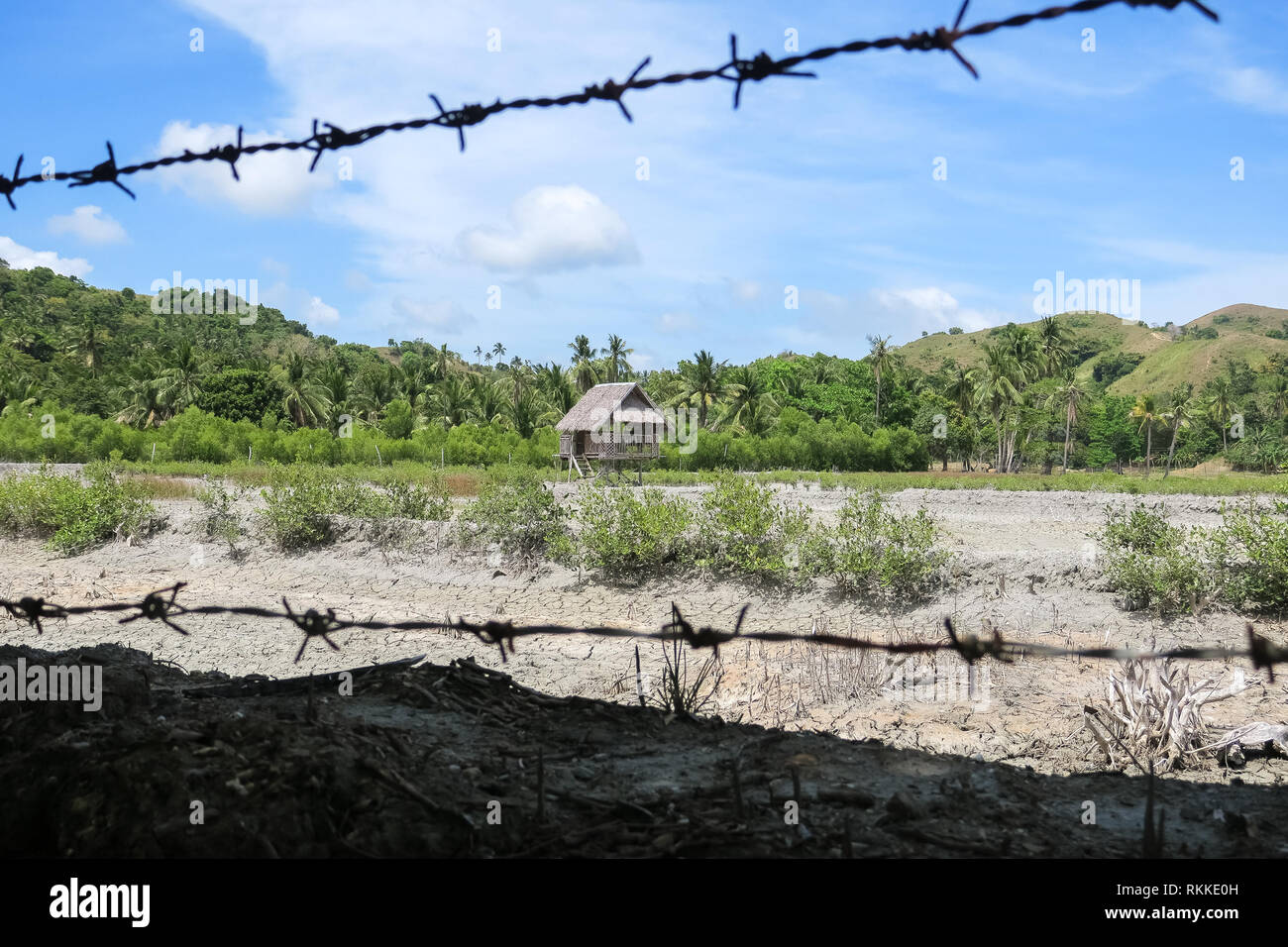 Barbed Wire fence & rustic village hut in hilly Philippine field - Cotabato, Mindanao - Stock Image