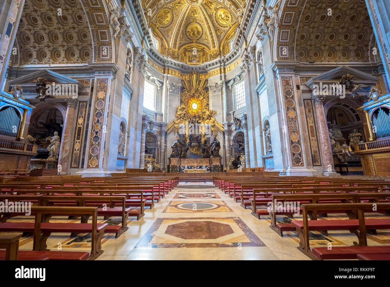 Saint Peter Basilica, Vatican State in Rome: interior with detail of cupola decorations. - Stock Image