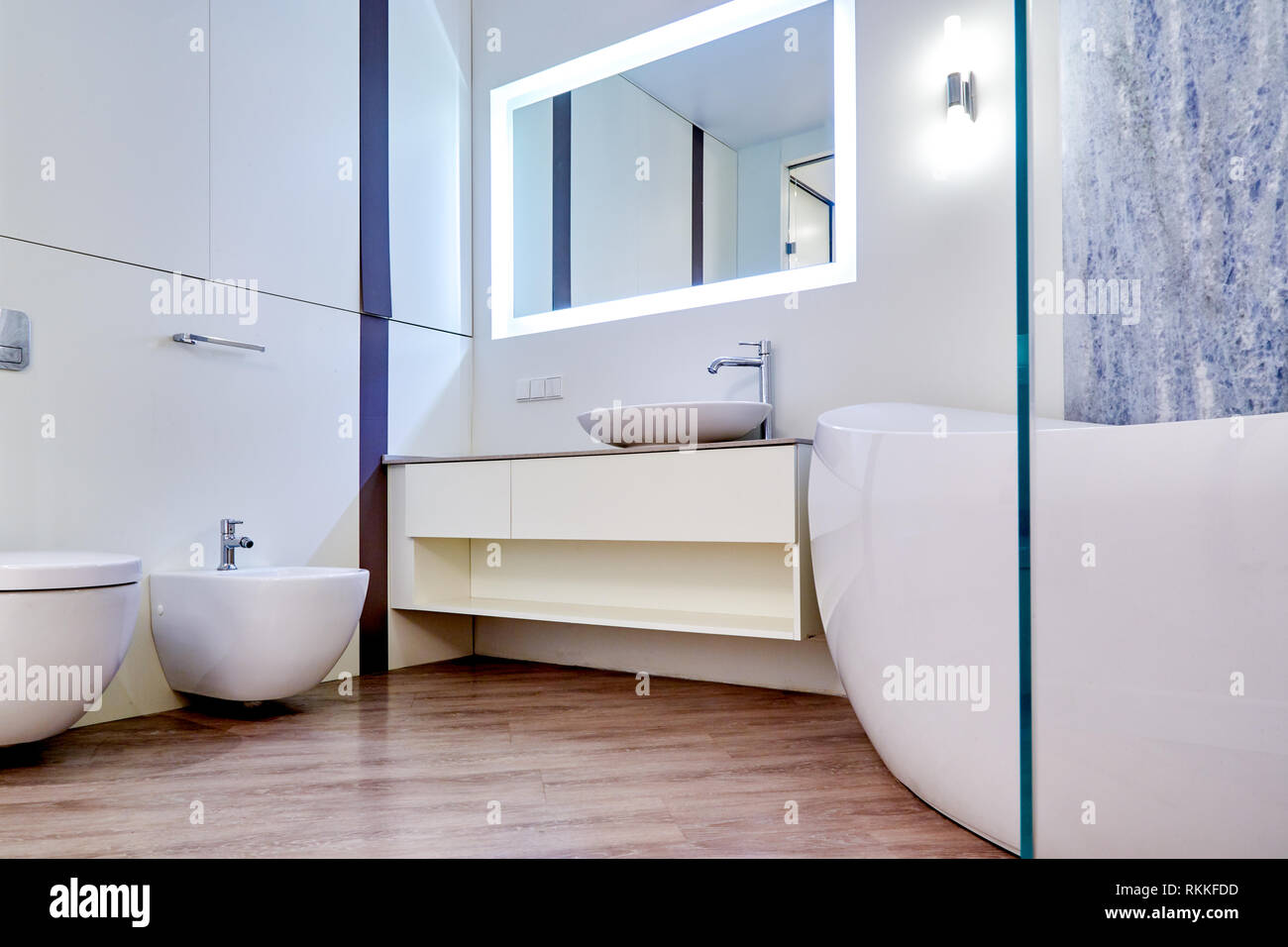 Beautiful Interior of a Modern Bathroom. Interior Architecture Stock Photo