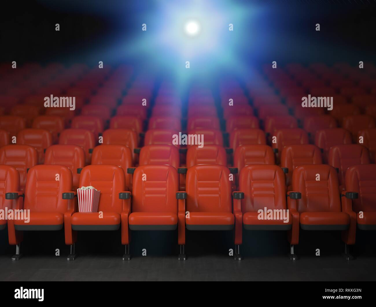 Cinema And Movie Theater Concept Background Empty Rows Of Red Seats With Pop Corn 3d Illustration Stock Photo Alamy