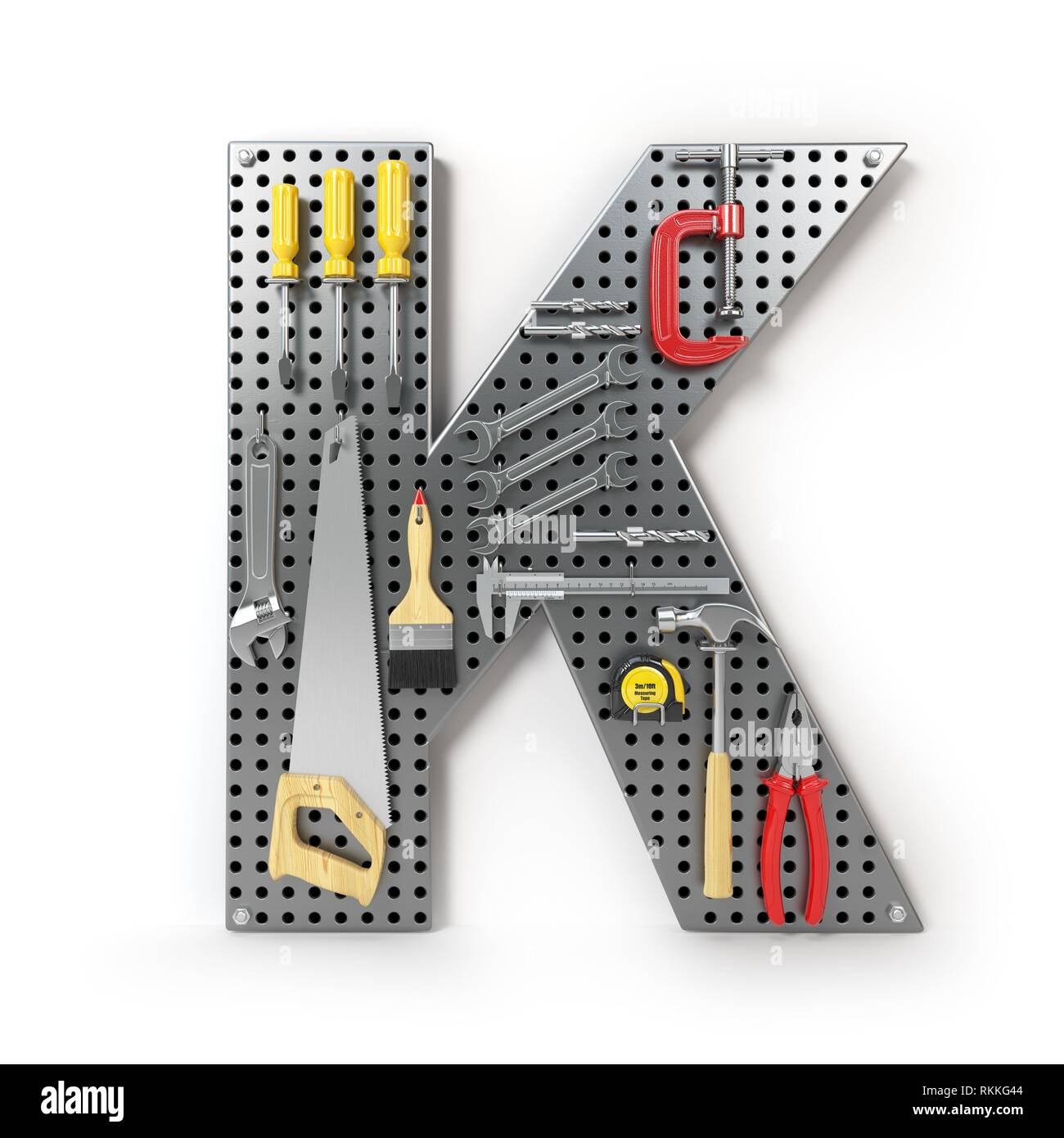 Letter K. Alphabet from the tools on the metal pegboard isolated on white. 3d illustration. - Stock Image