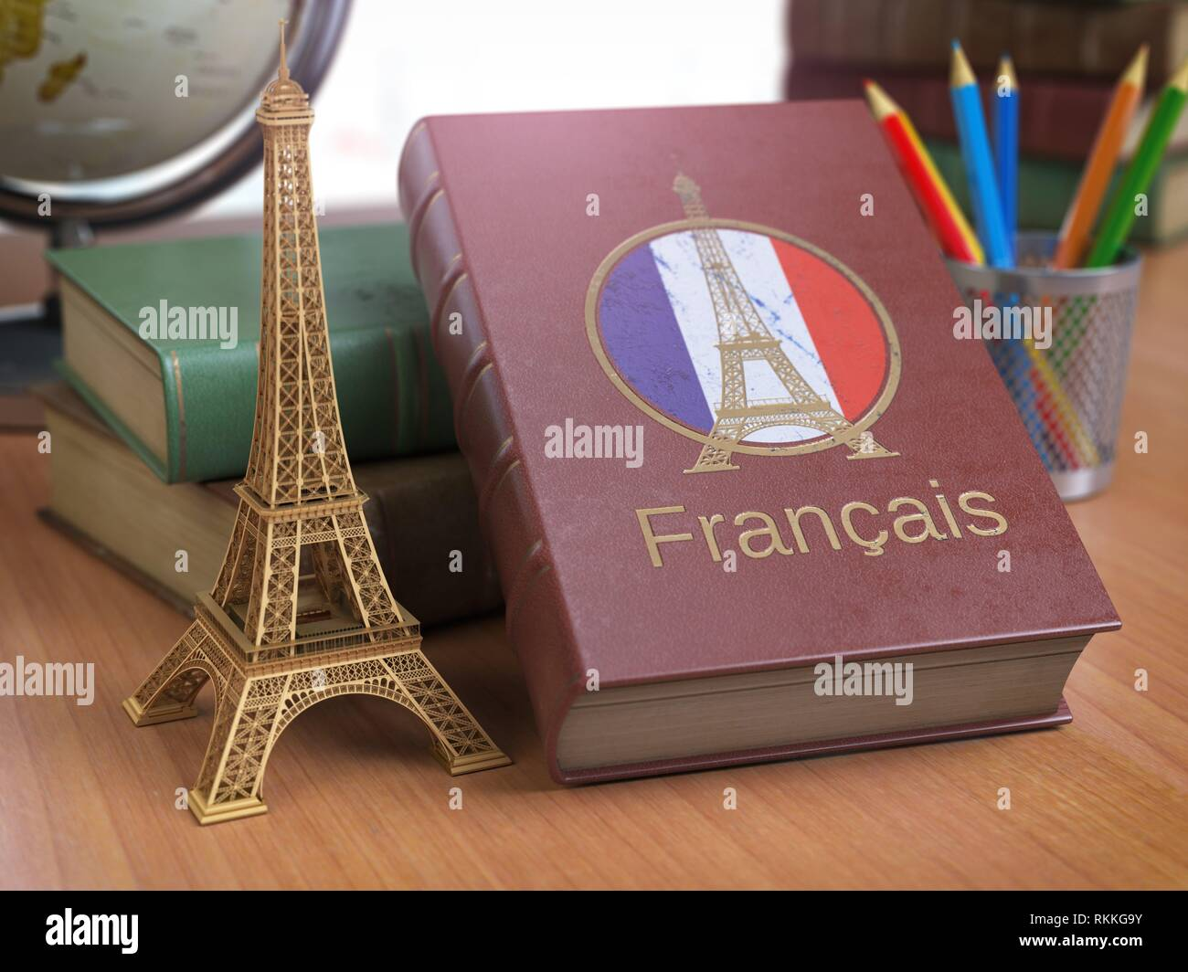 Learn and studiyng French concept. Book with French flag and Eiffel tower on the table. 3d Iluustration. - Stock Image