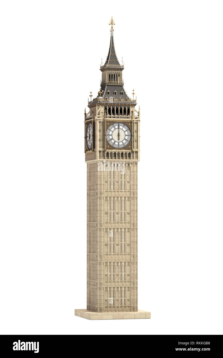 Big Ben Tower the architectural symbol of London, England and Great Britain Isolated on white background. 3d illustration. - Stock Image