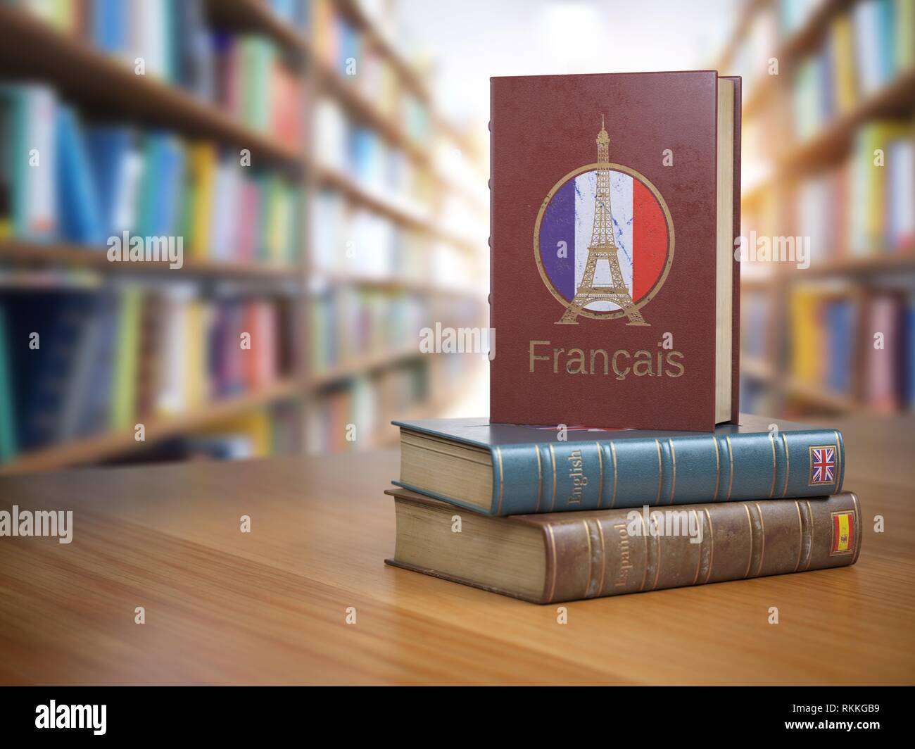 Learn French concept. French dictionary book or textbok with flag of France and Eiffel tower on the cover in the library. 3d illustration. - Stock Image