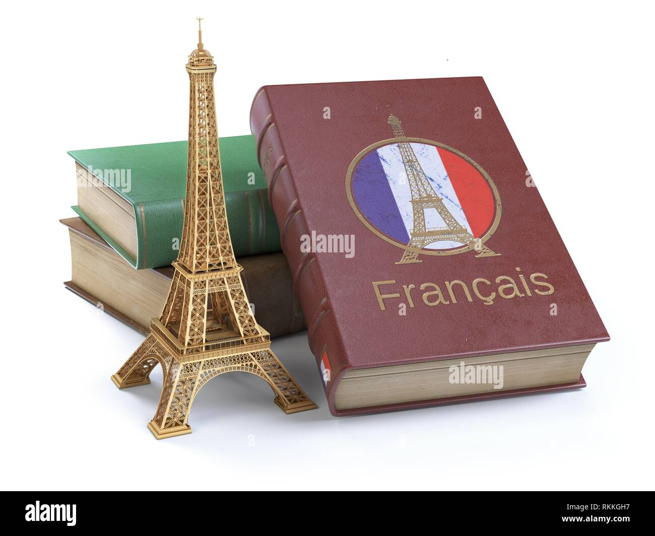 Learn and studying French concept. Book with French flag and Eiffel tower isolated on white. 3d Illustration. - Stock Image