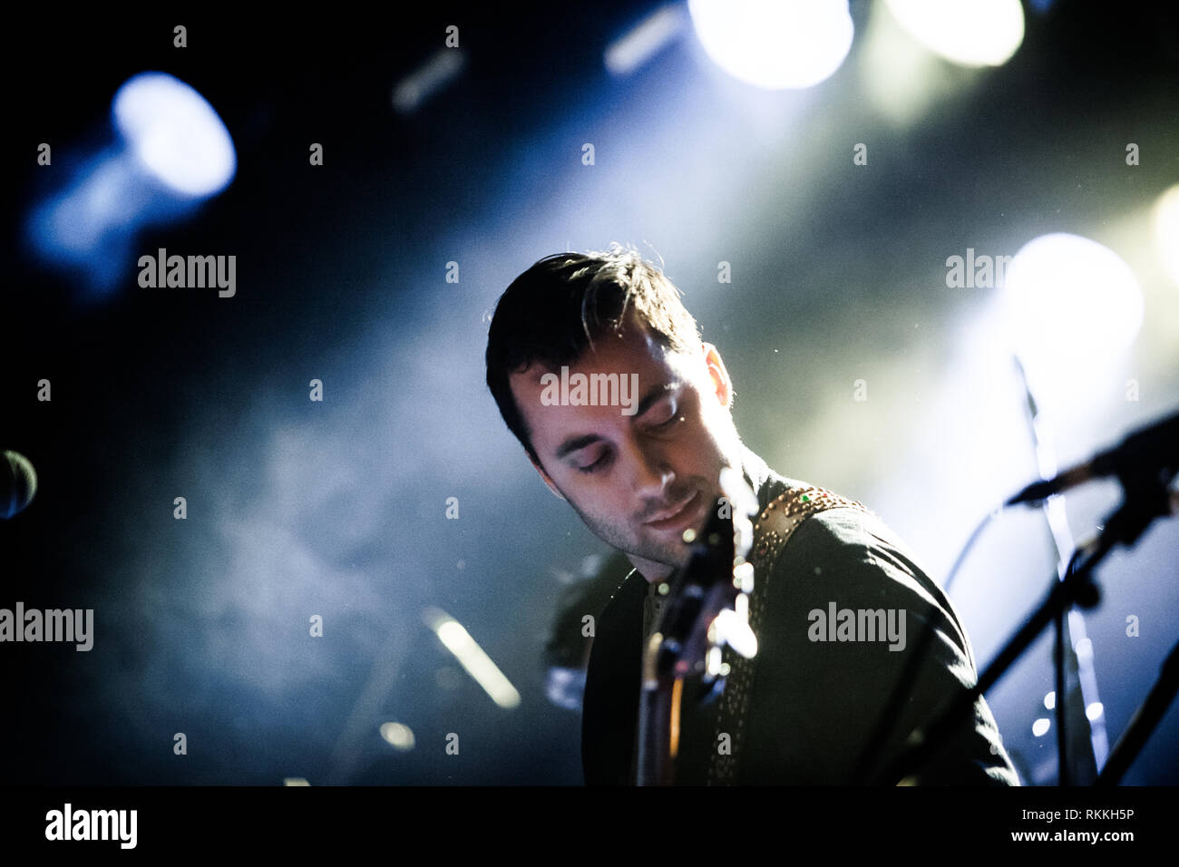 The American band The Lone Bellow performs a live concert at VEGA in Copenhagen. Here bass player Jason Pipkin is seen live on stage. Denmark, 05/02 2016. EXCLUDING DENMARK. Stock Photo