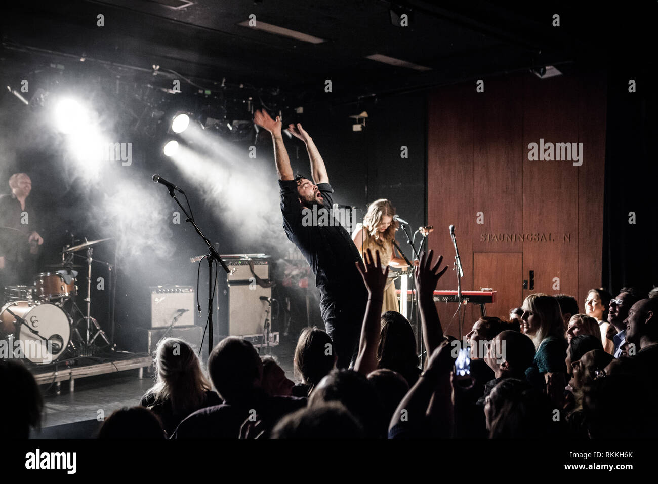 The American band The Lone Bellow performs a live concert at VEGA in Copenhagen. Here singer and musician Zach Williams is seen live on stage. Denmark, 05/02 2016. EXCLUDING DENMARK. - Stock Image