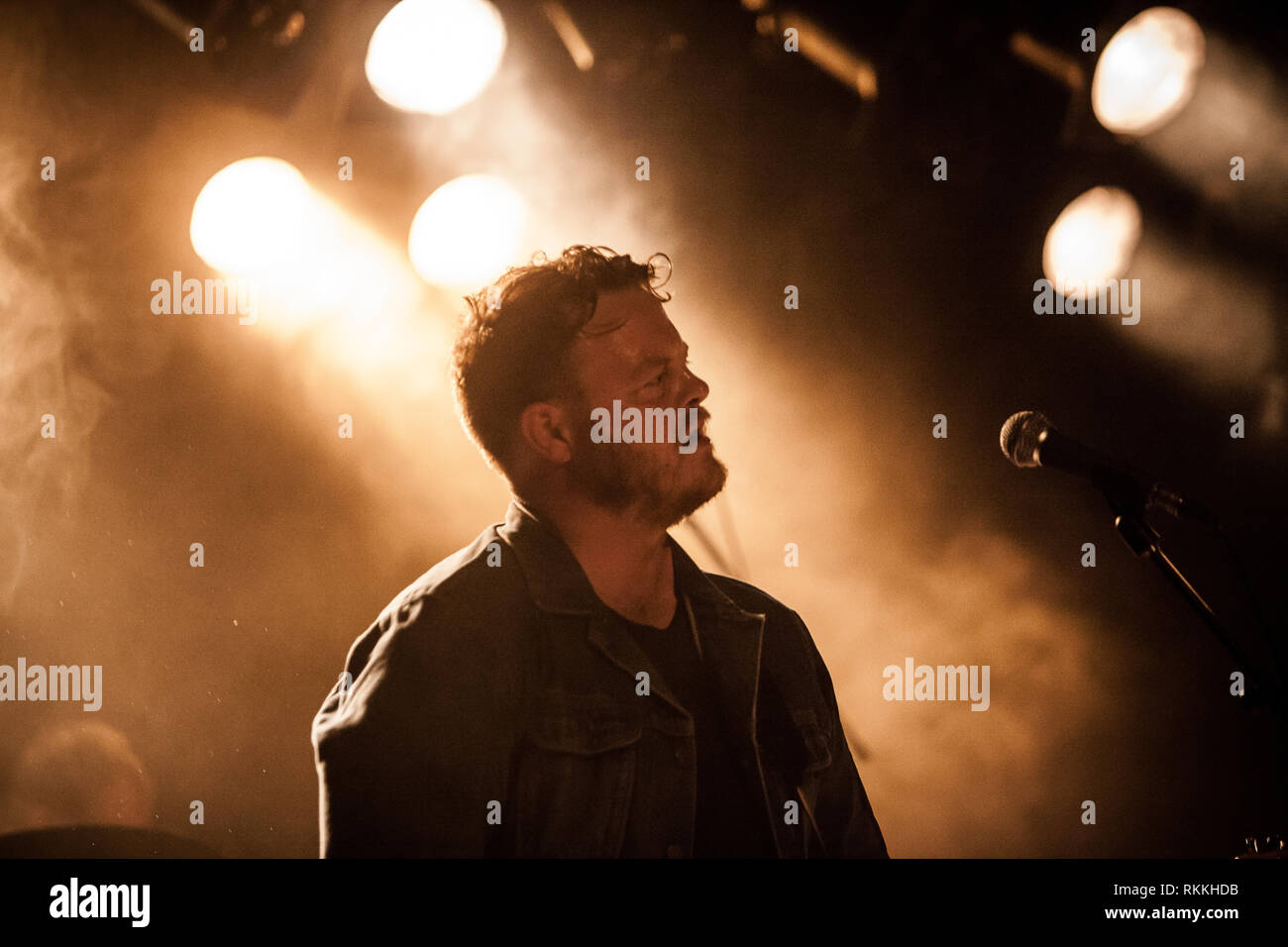 The American band The Lone Bellow performs a live concert at VEGA in Copenhagen. Here musician Brian Elmquist is seen live on stage. Denmark, 05/02 2016. EXCLUDING DENMARK. Stock Photo