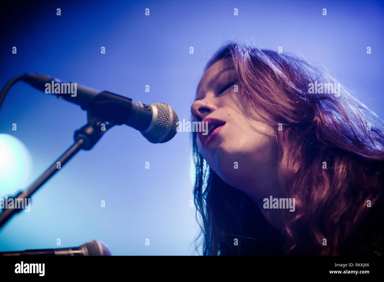 The American band The Lone Bellow performs a live concert at the Danish music festival Jelling Festival 2016. Here singer and musician Kanene Donehey Pipkin is seen live on stage. Denmark, 28/05 2016. EXCLUDING DENMARK. Stock Photo