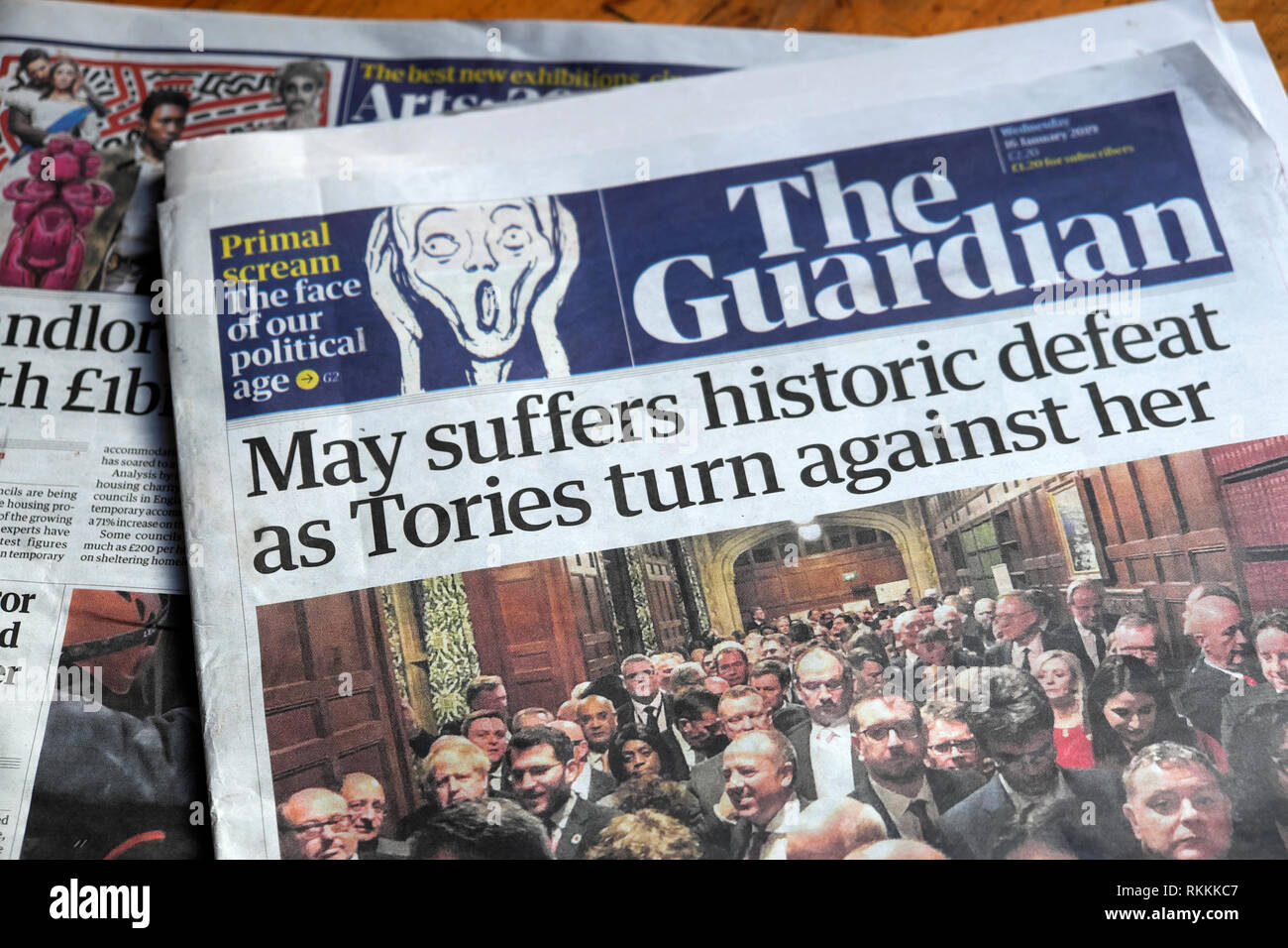 'May's power ebbing away as she suffers another humiliating defeat' front page headline in the Guardian newspaper 16 January 2019 London UK - Stock Image