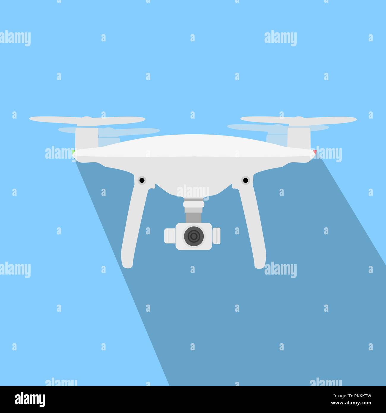 Drone with Vamera Vector Icon. UAV Drone Copter. Photo and Video Drone Icon Vector. Drone Copter Flying with Digital Camera. Unmanned Aerial Vehicle - Stock Vector