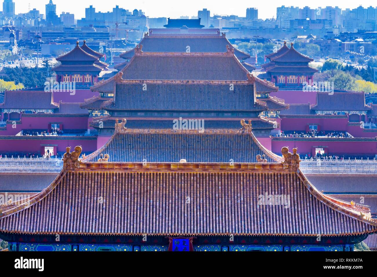 Yellow Roofs Forbidden City Beijing China Taken from Jinshang Park looking towards Tiananmen Square.Trademarks removed. - Stock Image