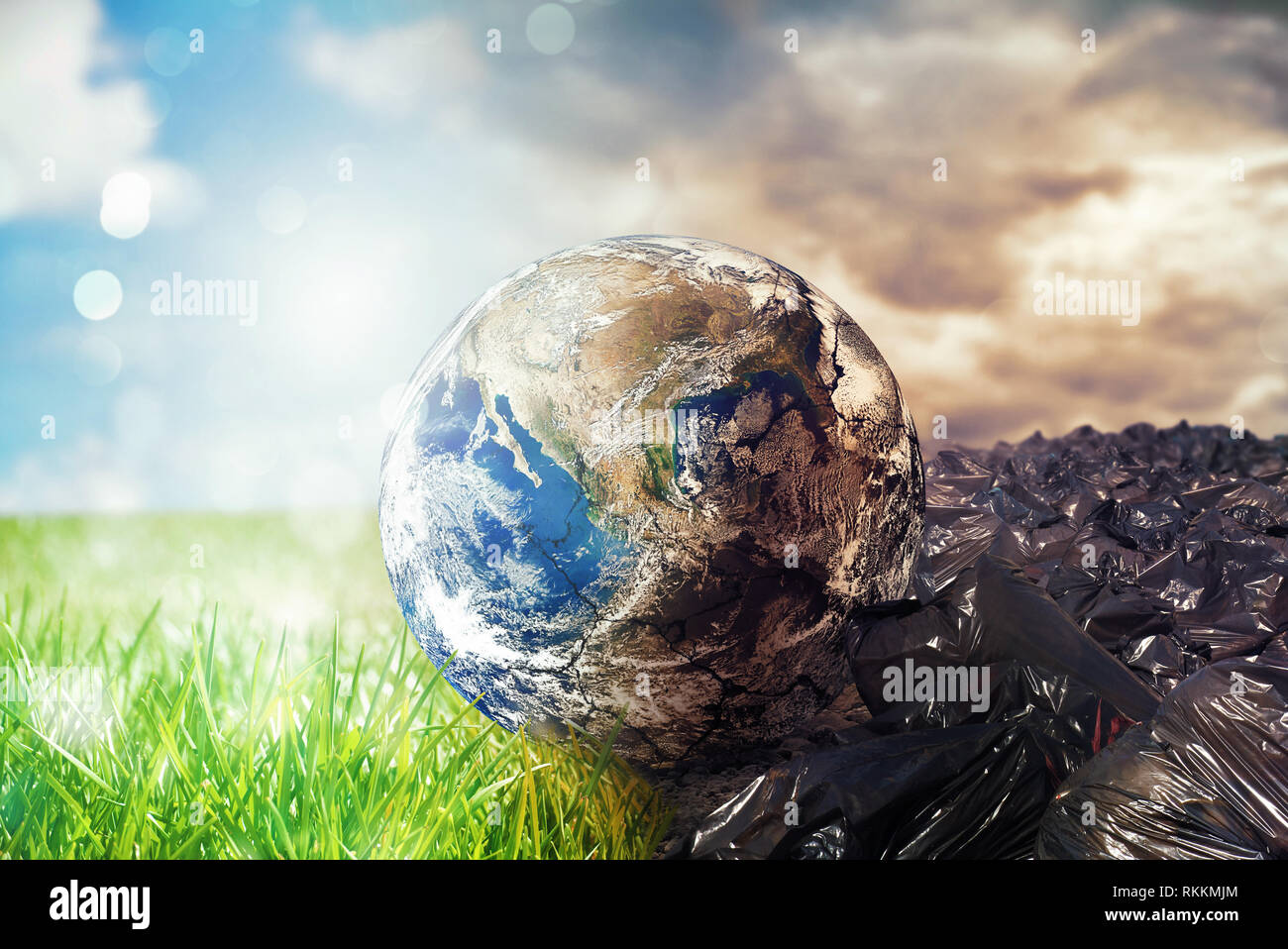 Earth is chancing due to pollution and undifferentiated trash. Save the World. World provided by NASA - Stock Image