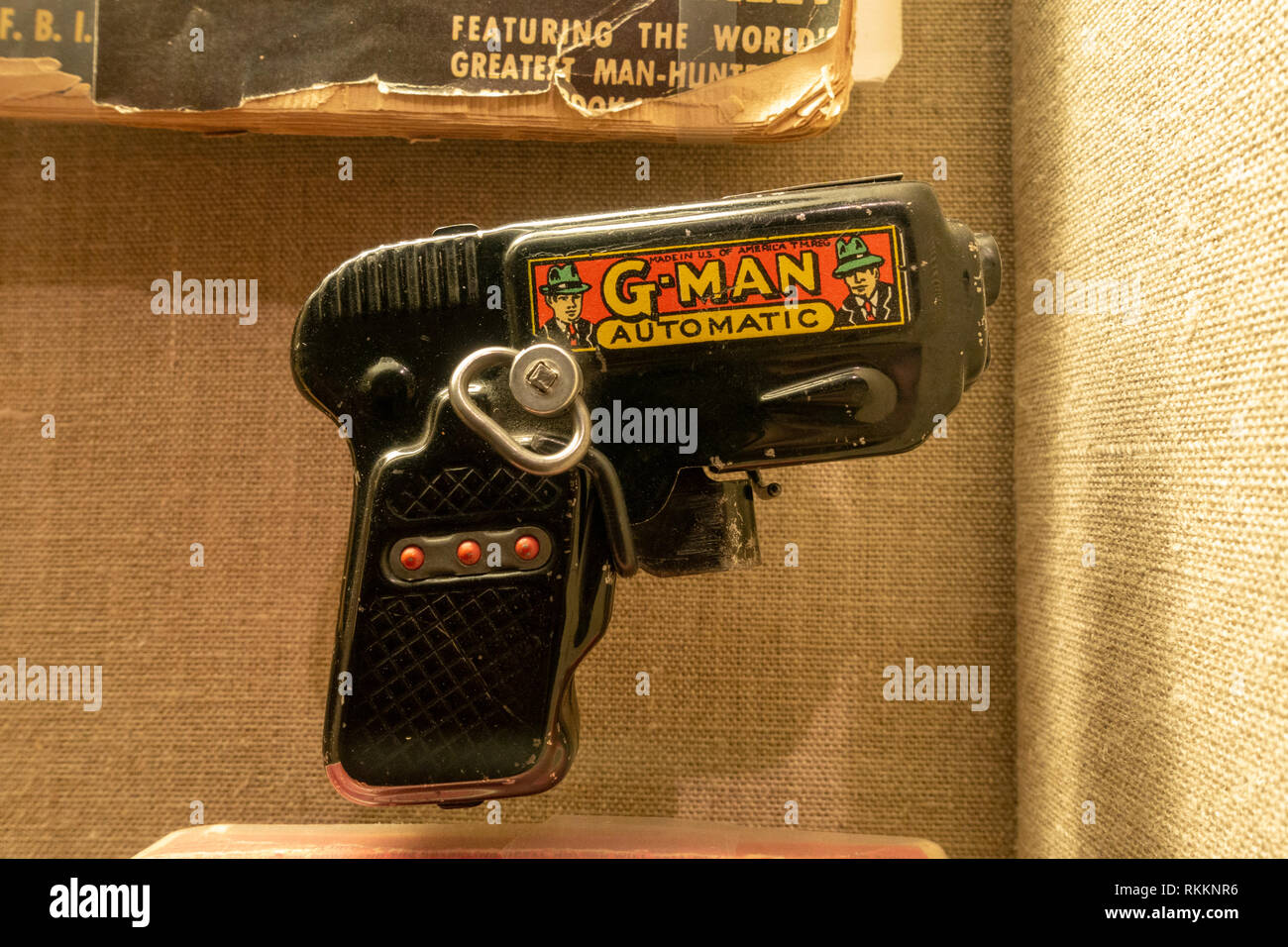 G-Man pistol, G-Men (Government Agents) and gangster related toy, The Mob Museum, Las Vegas (City of Las Vegas), Nevada, United States. - Stock Image