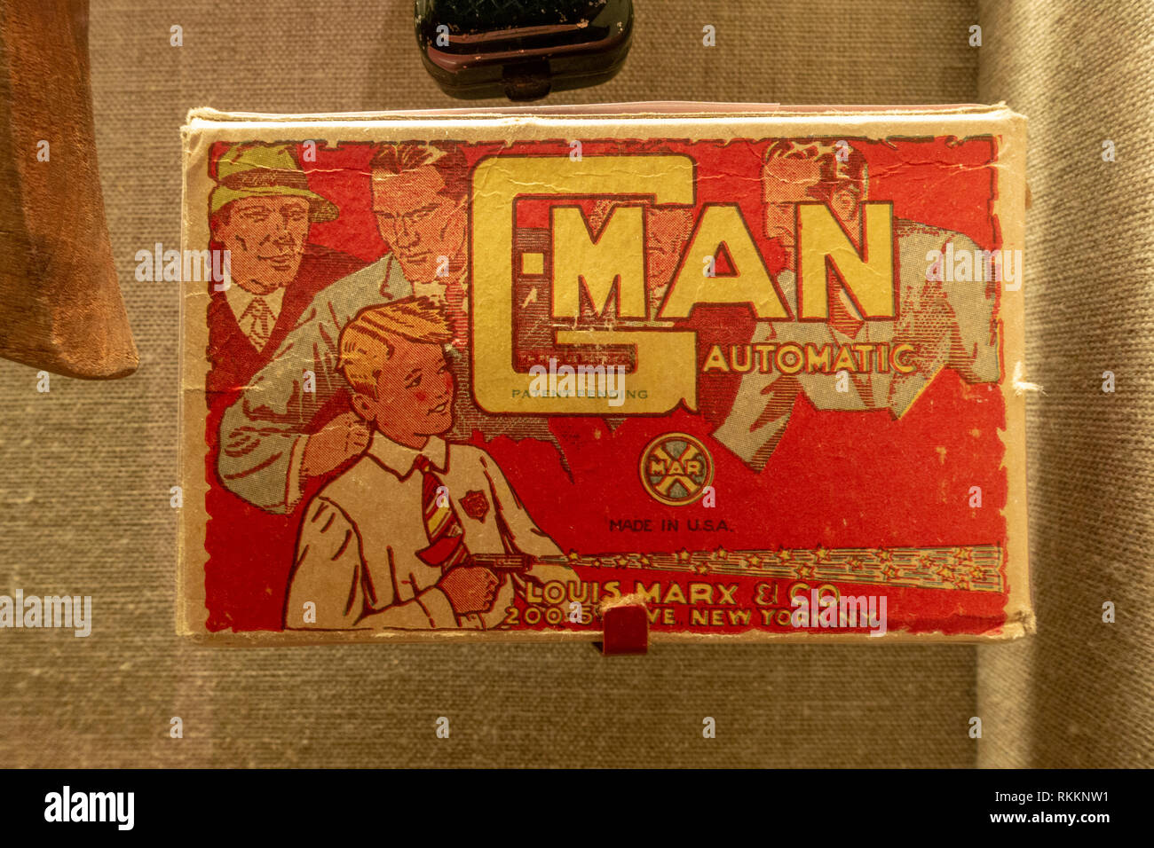 G-Men (Government Agents) and gangster related toy, The Mob Museum, Las Vegas (City of Las Vegas), Nevada, United States. - Stock Image