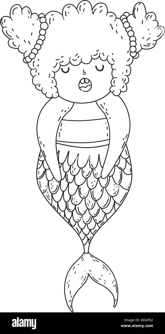 beautiful mermaid fairytale character - Stock Vector