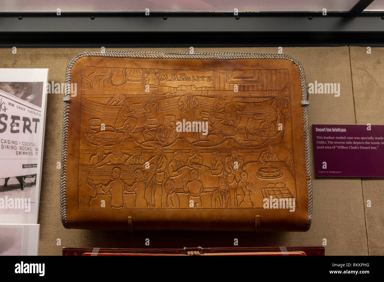 A leather-tooled briefcase from the Desert Inn casino (made for Moe Dalitz), The Mob Museum, Las Vegas (City of Las Vegas), Nevada, United States. - Stock Image