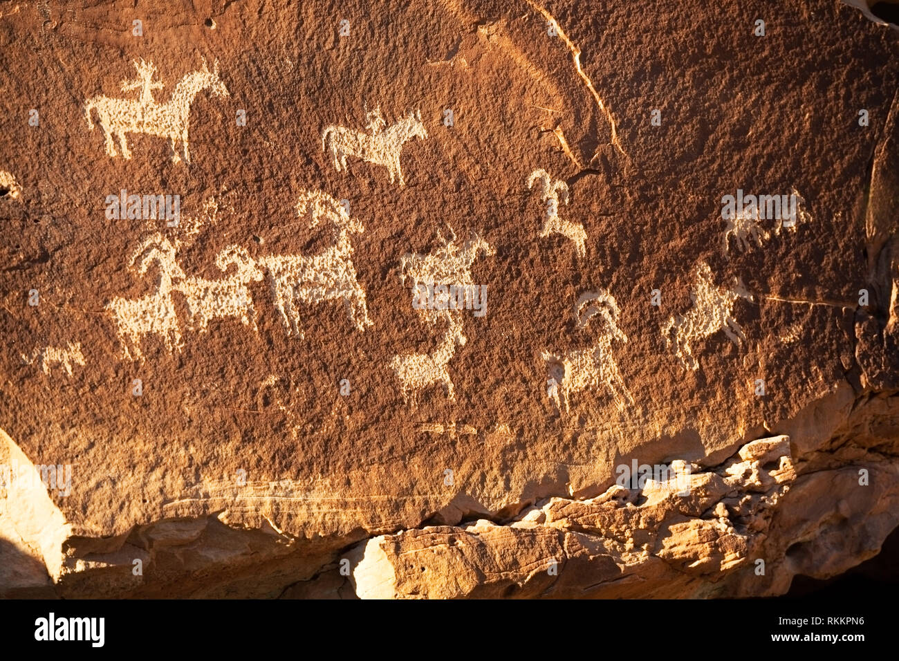 Native American Ute Indian petroglyphs near Wolfe Ranch and Delicate Arch, Arches National Park, Utah, America - Stock Image