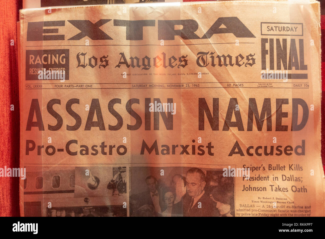 Los Angeles Times headline (23 November 1963) following the assassination of John F Kennedy, The Mob Museum, Las Vegas, Nevada, United States. - Stock Image