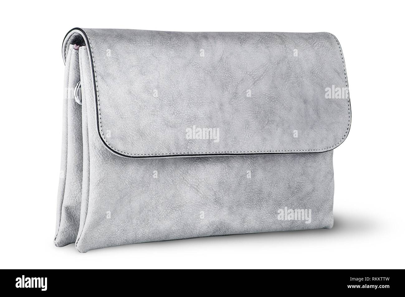 a572a682 Elegant gray female clutch bag rotated isolated on white background ...