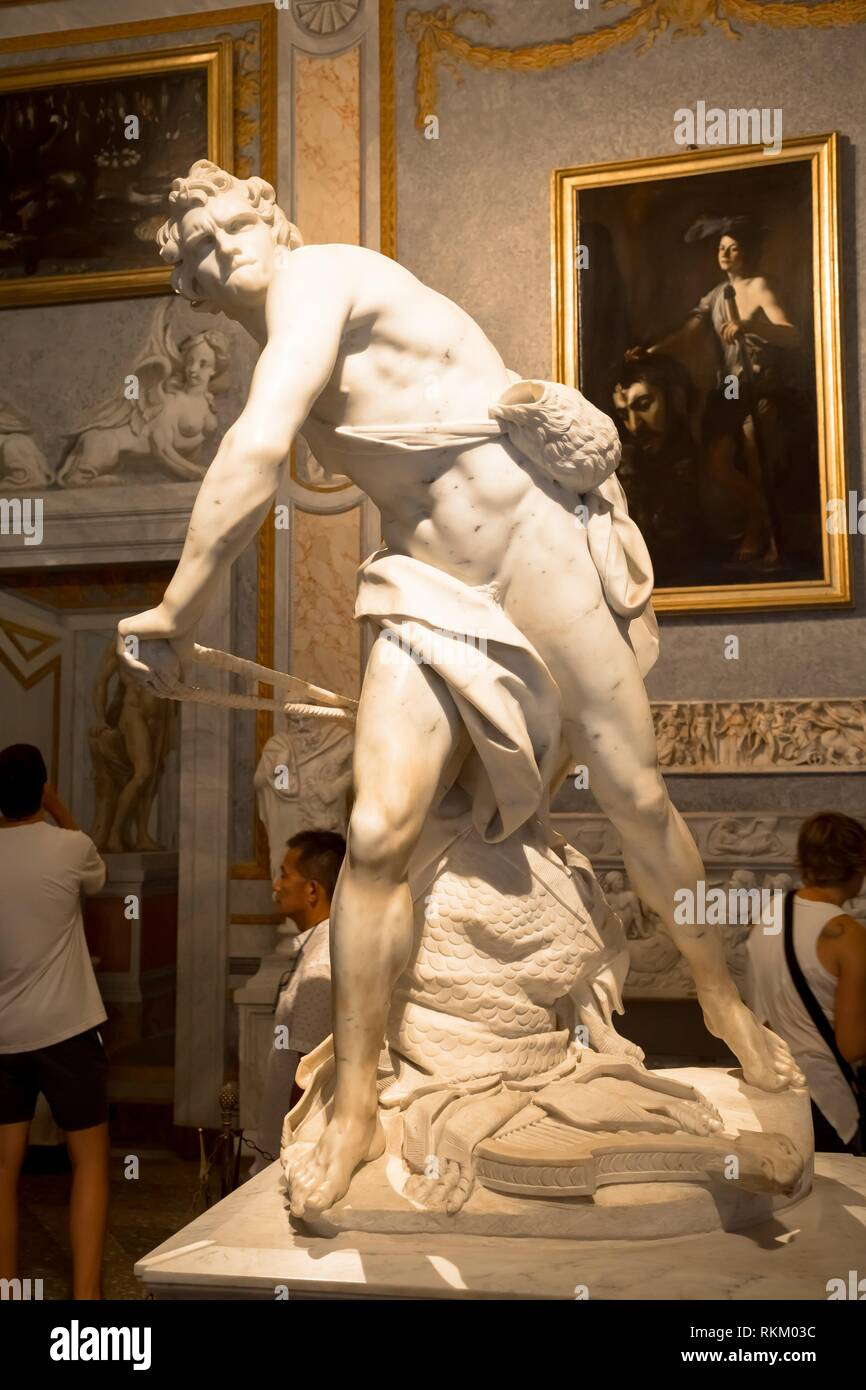 ROME, ITALY - AUGUST 24, 2018: Gian Lorenzo Bernini masterpiece, David, dated 1624. - Stock Image