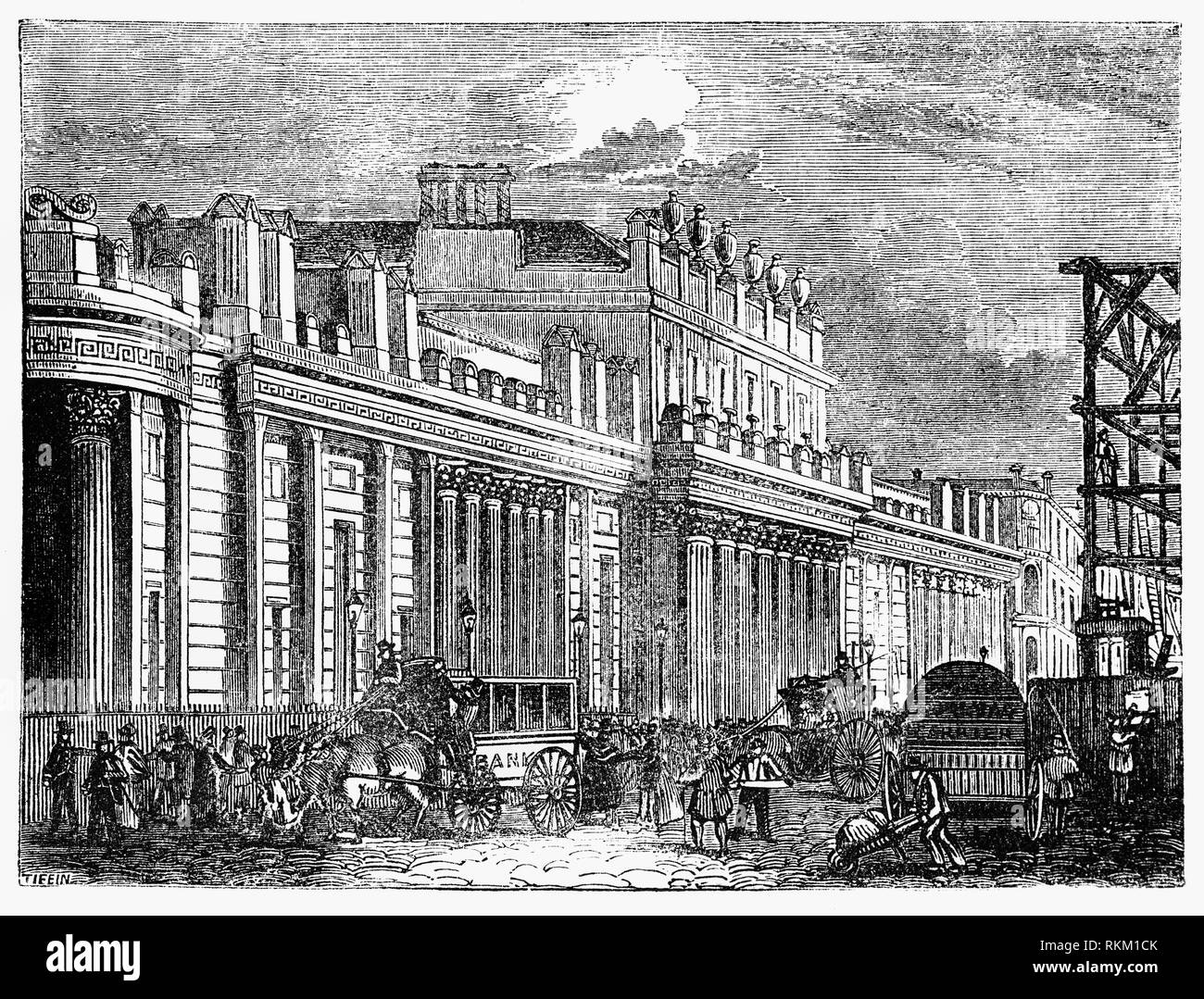 The Bank of England, the central bank of the United Kingdom, was established in 1694 to act as the English Government's banker and is the world's eighth-oldest bank. It was privately owned by stockholders from its foundation in 1694 until it was nationalised in 1946. The Bank moved to its current location in London's Threadneedle Street in 1734, and thereafter slowly acquired neighbouring land to create the site necessary for erecting the Bank's original home at this location, under the direction of its chief architect Sir John Soane, between 1790 and 1827. - Stock Image