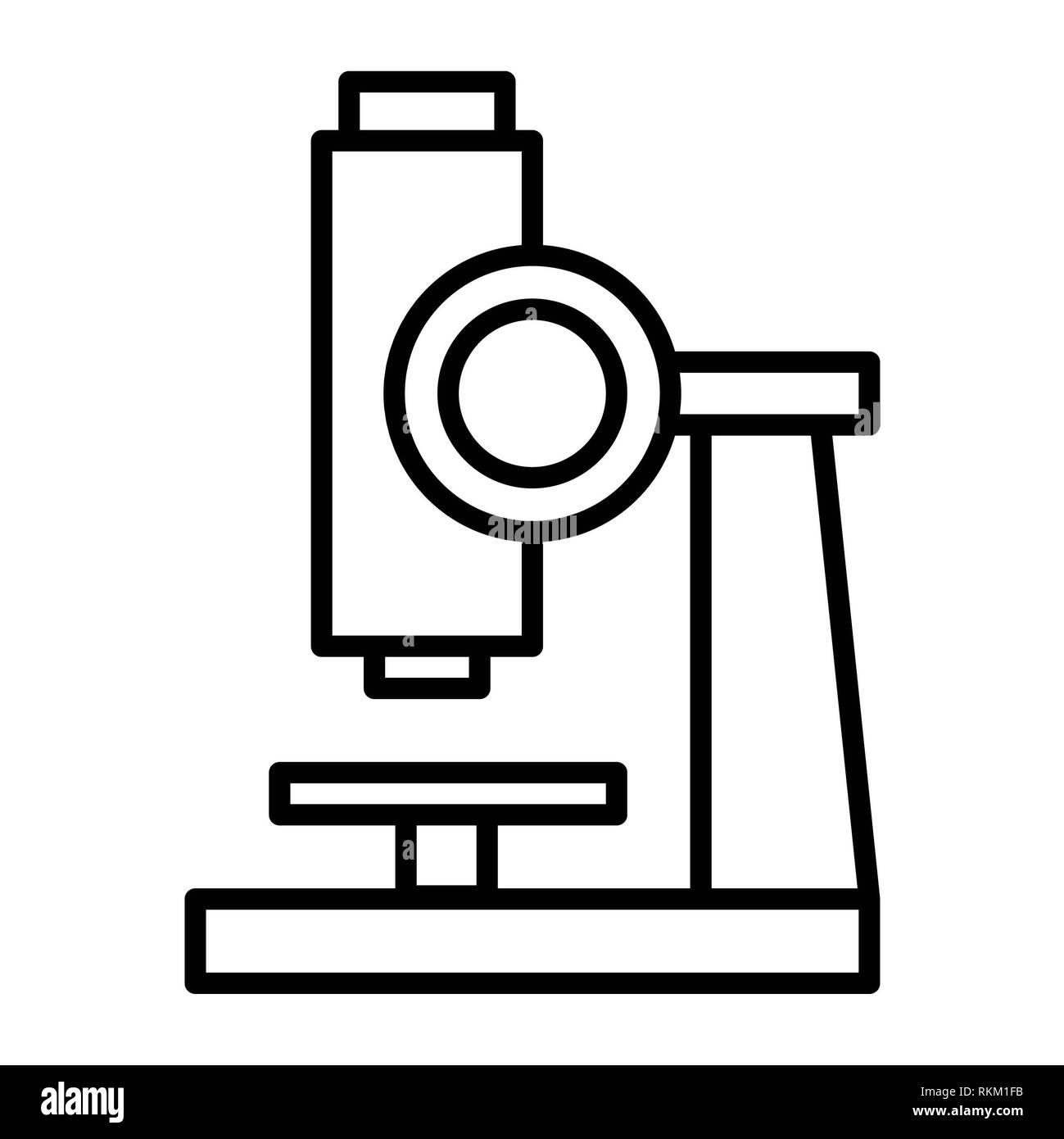 Microscope Icon, Vector Illustration, Education Outline - Stock Image