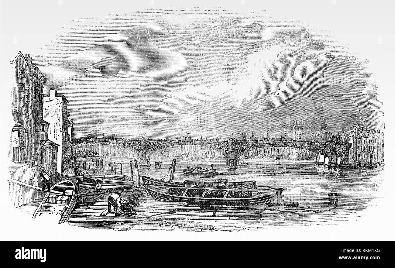 The old Southwark bridge, designed by John Rennie, opened on the site in 1819 and was originally known as Queen Street Bridge. It consisted of three large cast-iron spans supported by granite piers and was notable for having the longest cast iron span ever made. - Stock Image