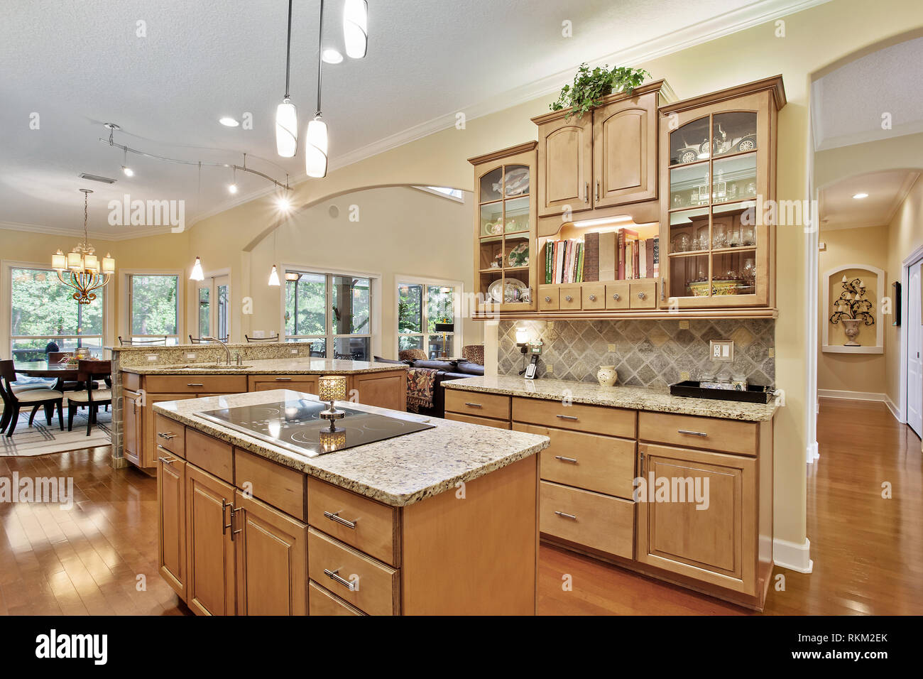 Modern Kitchen Home Interior with Hardwood and Wooden Cabinets