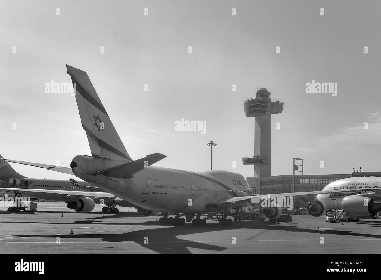 NEW YORK - MARCH 22, 2016: El Al Boeing 747 at JFK Airport. El Al is the flag carrier of Israel. Stock Photo