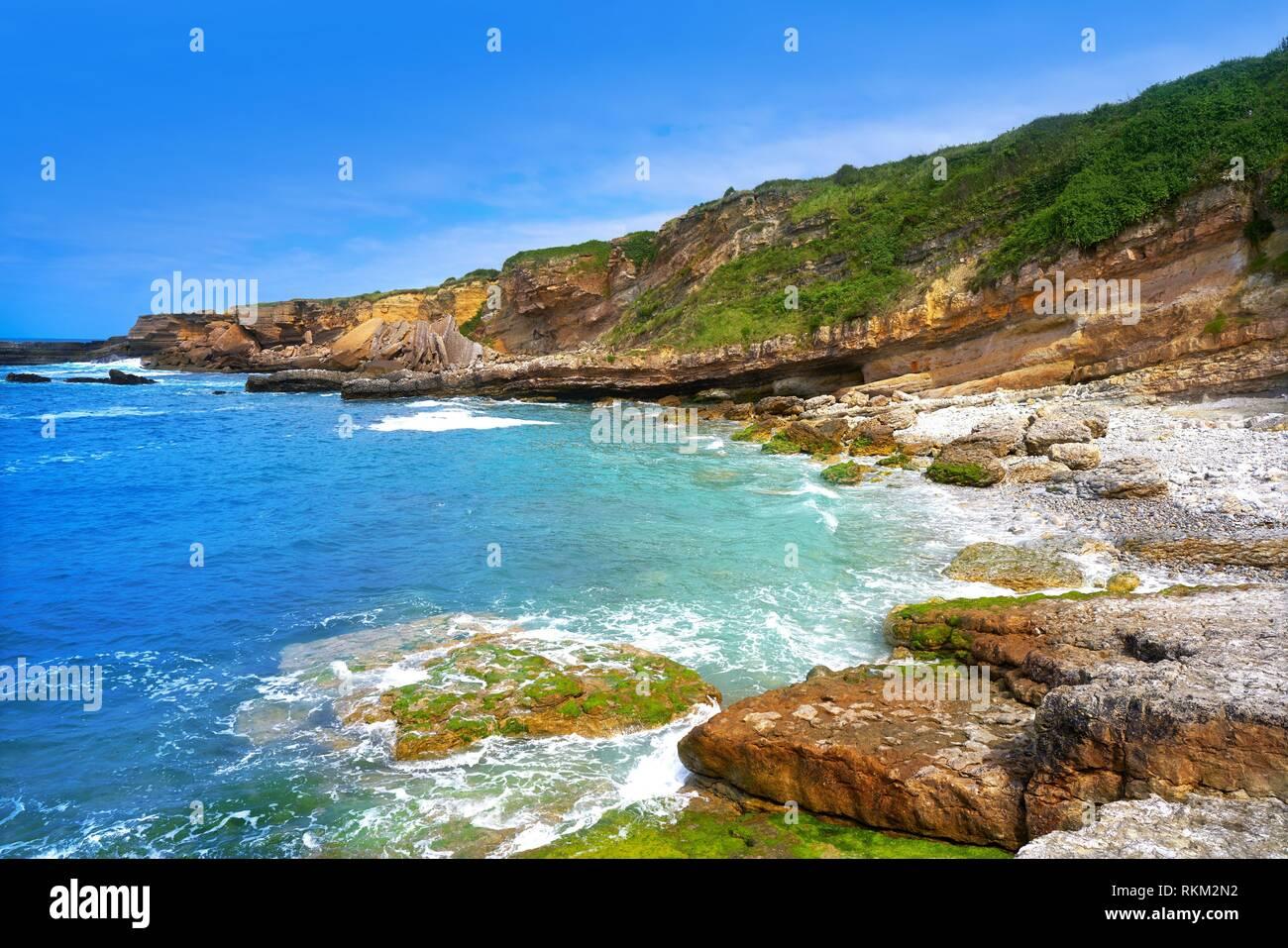 Antromero beach of Cristales with glass stones in Asturias of Spain. - Stock Image