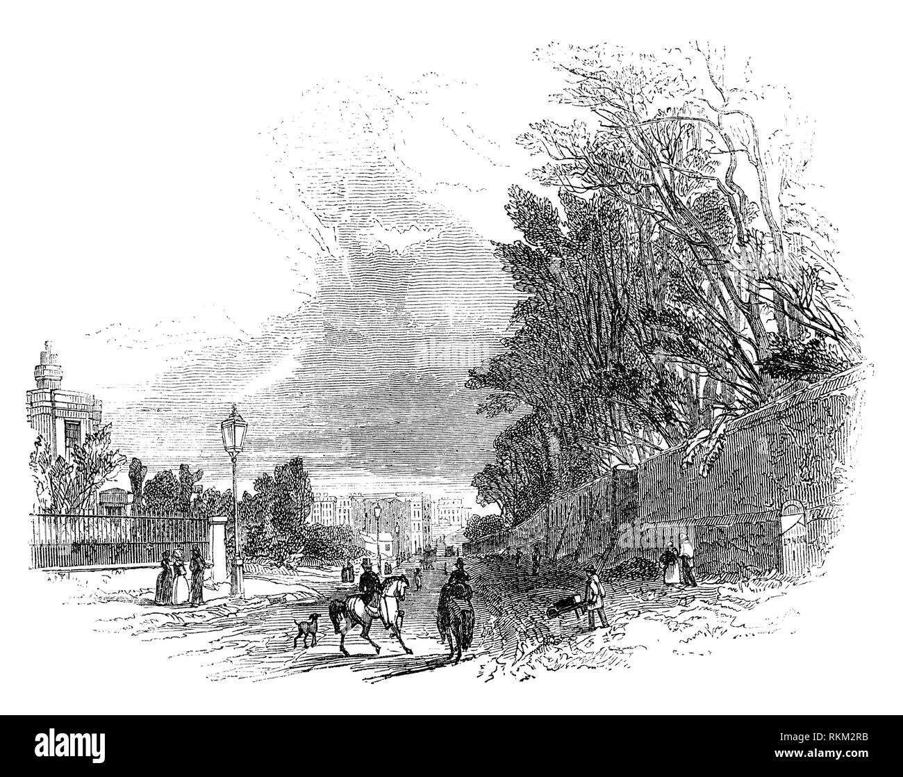 The early 19th Century suburbs of Knightsbridge, a residential and retail district in West London, south of Hyde Park. Originally it was a hamlet located primarily in the parish of St Margaret and partly in St Martin in the Fields and also extended into the parishes of Kensington and Chelsea. - Stock Image