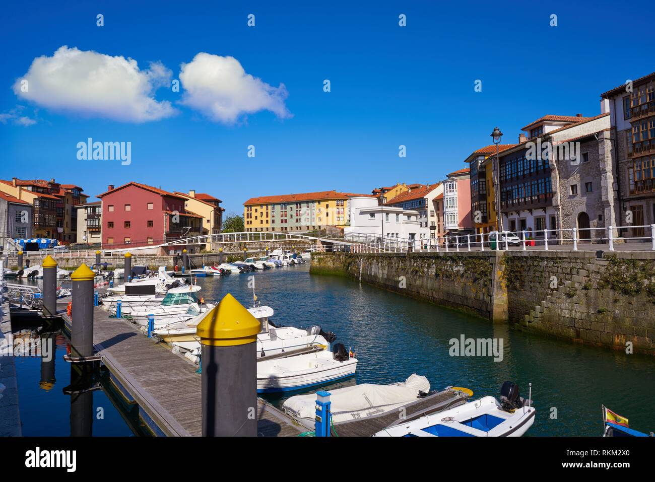 Llanes village port marina in Asturias of Spain. - Stock Image