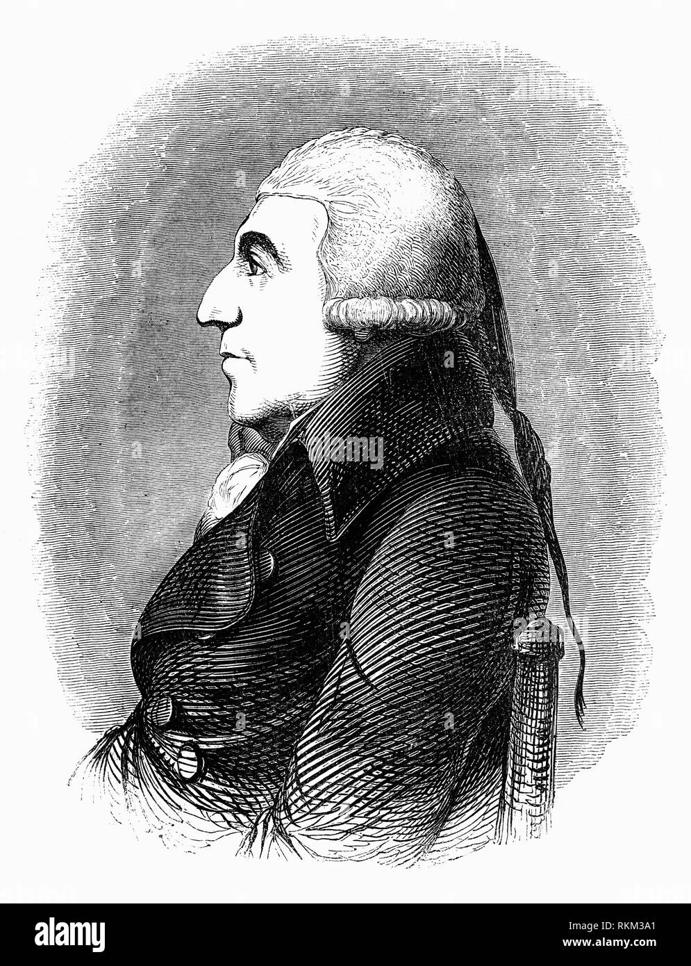Portrait of John Howard FRS (1726-1790), philanthropist and prison reformer. When appointed High Sheriff of Bedfordshire in 1773,rather than delegating his duties to the under-sheriff as was customary, Howard inspected the county prison himself. He was shocked by what he found, and spurred into action to inspect prisons throughout England. Of particular concern to Howard were prisoners who were held because they could not pay the jailer's fee – an amount paid to the owner or keeper of the prison for upkeep, an issue to parliament in 1774. - Stock Image