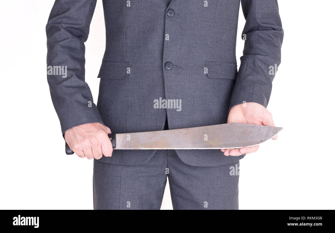 Office maniac with machete isolated on white background. - Stock Image
