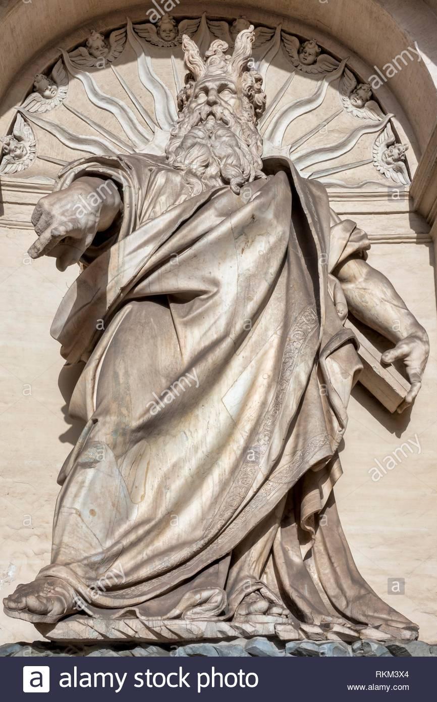 Details of the monumental Fontana dellâ.Acqua Felice (or Fountain of Moses), Rome Italy. - Stock Image